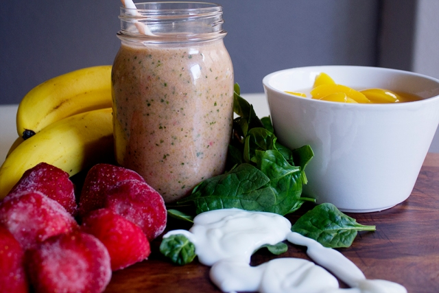 Strawberry-Peach Smoothie with Spinach via applestoziti.com