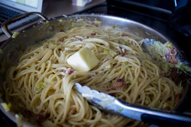 Carbonara with Leeks, Bacon, & Goat Cheese