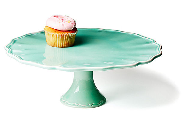 Jade, Handpainted in Portugal, Earthenware Cake Stand 12.2%22 x 12.2%22 x 4.9%22