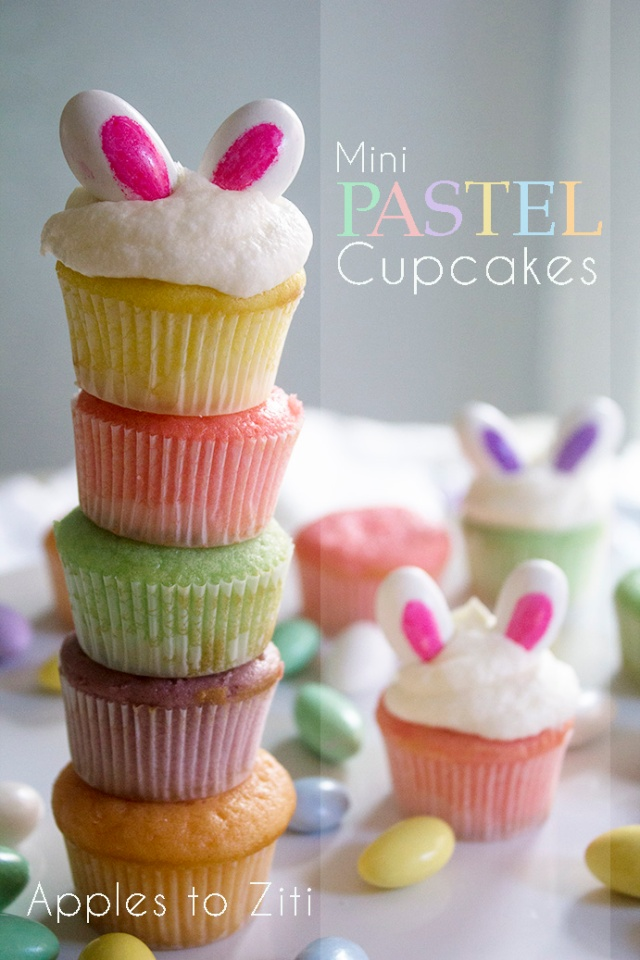 Pastel Mini Cupcakes with Bunny Ears for Easter | ApplestoZiti.com